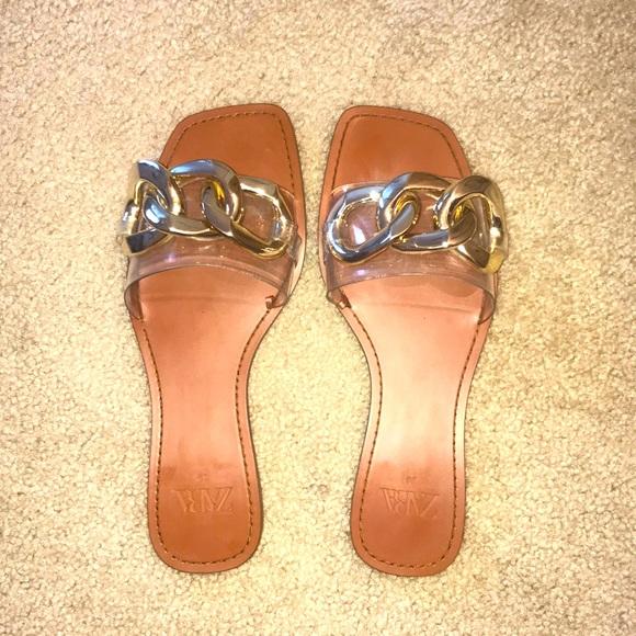Zara Gold Chunky Sandals